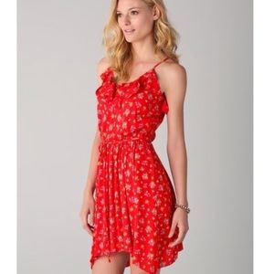 Rebecca Taylor Red Floral Ruffle Dress